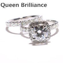 Queen Brilliance Total 3.15 Ct DEF Engagement Moissanite Diamond Ring Set With Diamond Accents 14K 585 White Gold(China)
