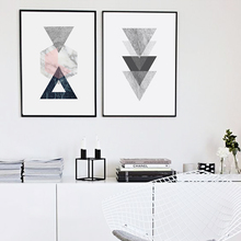 Nordic Style Vintage Geometric Canvas Art Print Poster, Marble Wall Pictures for Home Decoration, Giclee Wall Decor YM004(China)