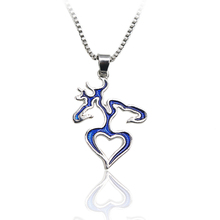 Blue Buck & Doe His Hers Hollow Heart Pendant Men Women Love Couple Necklace Unique Personalized Charm Bijoux