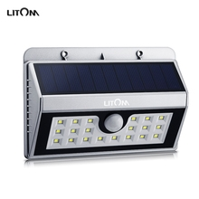 Litom Wireless Solar Powered 20 LED Solar Lampion PIR Motion Sensor Solar Lighting Outdoor Fence Garden Wall Waterproof Light(China)