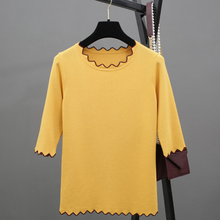 Women's Unique Design Elastic Slim Knitted T-shirts Fashion Wave Selvage Half-sleeved Spring Tops Casual Summer Apparels SY1041