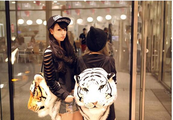 1 piece 2018 new Cool Luxury White yellow Tiger Head style Bag Knapsack Backpack tiger schoolbag travel bag<br>