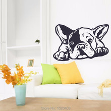 New Hot French Wall Decals - 3D Vinyl Wall Sticker Bulldog Dog Design Preferred Home Decor French Interior Wall Art Mural A004(China)
