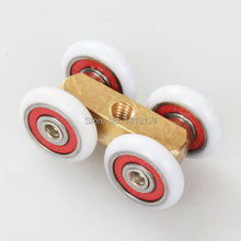 free shipping door roller ultra-quiet wooden door sliding door pulley hanging rail track nylon wheel glass bearing door hardware(China)