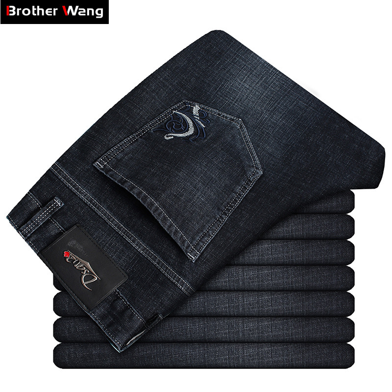 2019 New Men's Black Slim Jeans Classic Style Embroidery Elastic Force High Quality Cotton Denim Jean Pants Brand Clothing