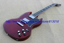 Hot ! customised electric guitar SG model wine red ,ebony fingerboard,crossing inlay ,chrome parts, zakk knobs with pickguard!