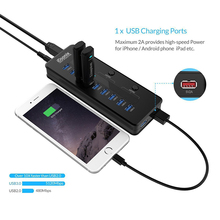 10 Ports USB HUB support AU /EU /US/UK Plug With 1 Ports Charging 3 Power Switch For Tablet Cellphone(China)