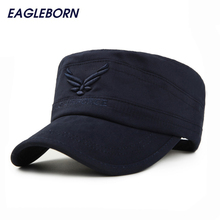 2017 Brand New Eagleborn US AIR FORCE Breathable Cotton Army Captain Tactical hats for men Vintage Flat Roof Military Caps(China)