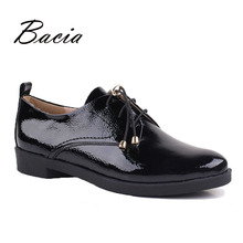 Bacia Black Shoes Women Handmade Genuine Leather Lace-up zapatos mujer Casual Full Season Shoes Low Heel Round Toe Flats VB048(China)