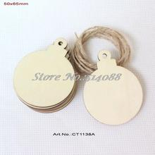 (50pcs/lot) 50mmx 65mm Blank Unfinished Christmas Ornaments Ball Tags Rustic Wooden Tags -CT1138A