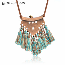 QIHE JEWELRY Tassel necklace Brown leather chain geo pendant multi fringe tassel charm long necklace Boho chic Bohemian jewelry(China)