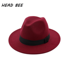 [HEAD BEE] Brand Fedora Hat Ladies Wool Wide Brim Winter Cap Felt Hats Women Sombrero Hombre Elegant 2017(China)