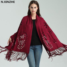 N.XINZHE NEW High end Fashion Women Shawl Wrap Scarf Women Suede Leather Tassel Shawl Fringe Flower Hollow Out Ponchos Capes B37(China)