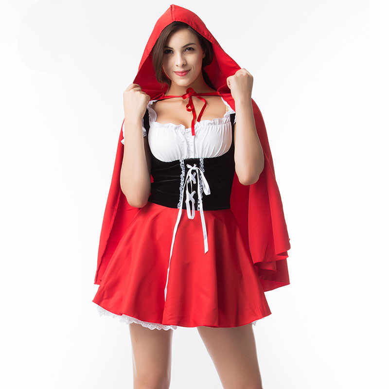 b547eca507c S-6XL Новинка! Сказка Красная Шапочка костюм для Для женщин взрослых  Хэллоуин Карнавал Косплэй