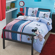 Authentic DISNEY Mickey Mouse Prince Riding Horse Bedding Set 100% Cotton Duvet Cover Sheet Set Single Queen Size Kids Beddings(China)