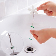 2Pcs Home Use Shower Chain Hair Cleaner Wig Kitchen Sink Filter Drain Hair Catcher Bathroom Bathtu Hair Removal Tool