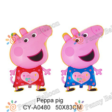 wholesale 50*83cm 50pcs/lot George Cartoon Pig Foil Balloons baby shower party supplies walking pet balloons toys for babies