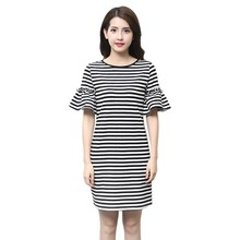 Fashion Women Summer Short Butterfly Sleeve Casual Dress O-Neck Black White Striped Plus Size M-XXXL - Kily store