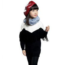 Long Sweater For Girls Spell Color Children Knitted Sweaters Casual Tassel Pull Enfant Fille Underwear Wool Pullover(China)