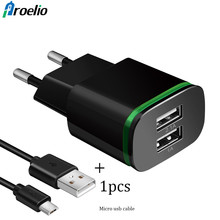 Buy Proelio EU US Plug 2 Ports LED Light USB Charger 5V 2A Wall Adapter Mobile Phone Micro Data Charging iPhone iPad Samsung HTC for $1.18 in AliExpress store