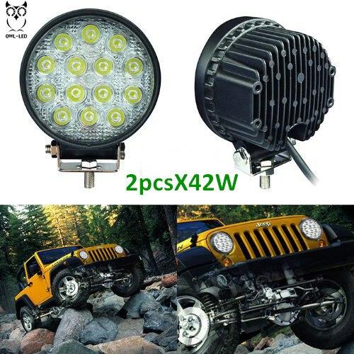 2pcs 42w DRL LED Work Light Worklight 10-30V 4WD,Free Shipping12 volt led work lights for Off Road work light led car<br>