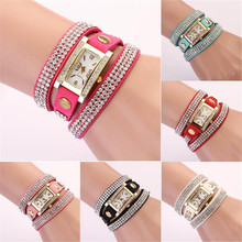 2017 Direct Selling Real Newest Women Watch Inlaid Bling Rhinestones Bracelet Quartz Timepiece Leather Band #170717(China)