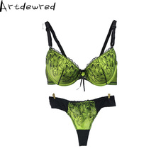 Women sexy bra set underwear bra set embroidery sexy lace bra ultra-thin temptation beige blue green white push up bra thong set
