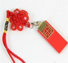 Red Chinese Knot Ceramics Ceramic Usb Flash Drive 64GB Pen Drive 64GB USB Stick 32GB Pendrive 16GB Disk On Key 8GB Computer Gift(China)