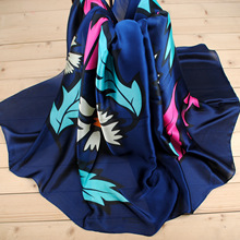 Winter Scarf Real Adult Women Scarf 2017 New Autumn And Winter Fashion Fresh Leaves Satin Silk Scarves Manufacturers Wholesale(China)