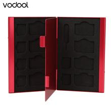 15 in 1 Aluminum Storage Box Bag Memory Card Case Holder Wallet Large Capacity For SIM Micro Nano SIM Cards Red(China)