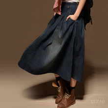 Women Maxi Skirt Pocket Women Casual Loose Skirt Long Denim Skirt Elastic Waist Fashion Vintage All-Match Long Jean Skirts C1794(China)