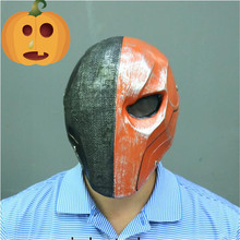 Hot New Version Orange Deathstroke Mask Helmet Arkham Deathstroke Mask Cosplay Props Halloween Party Cosplay Move Mask Free size