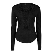 2017 Vintage Ethnic Lace Crochet T Shirt Women Tunic Shirt Tops Female Long Sleeve Flower O-Neck Tee Shirts Vetement Femme
