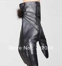Vintage Women fur Genuine Goat leather gloves skin gloves LEATHER GLOVES  #3117