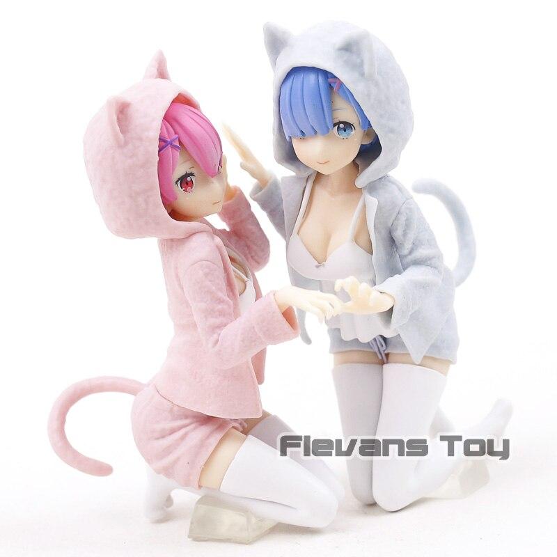 Anime Re:Zero Rem /& Ram Nyanko Mode Ichiban kuji PVC Figure Gift Toy New No Box