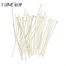 Free Shipping Wholesale 100pcs in Bulk Metal Gold/Bronze/Silver Plated Head Pins Findings Gold for Jewelry Making A457