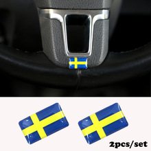 2pcs/set Steering wheel 3D Epoxy Car  fit for Volvo V40 V60 S60L Shield Flag Car Sticker  Sweden  National Emblem
