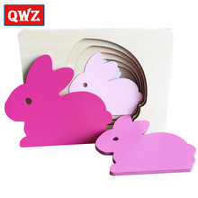 QWZ Animal Carton Rabbit/Bird/Whale Puzzle Multilayer Jigsaw Baby Wooden Toys Child Early Enlightenment Grab Educational Gift(China)