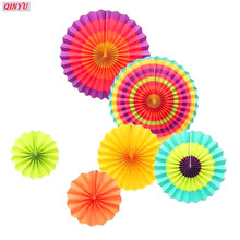 Romantic Creative Paper Fan Flower DIY Handcraft Decoration Colorful Wheel Tissue Paper Fan Ornament 5ZMM219(China)