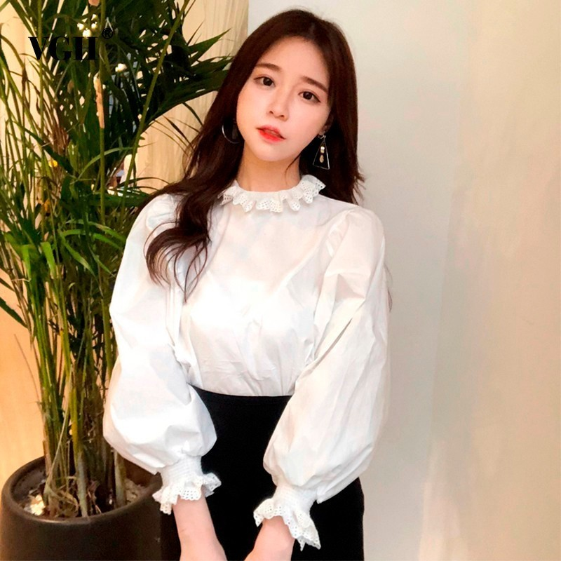 VGH Ruffles Women's Fashion Blouses Ruffled Lantern Sleeve Loose Top Female Shirt Solid Clour Korean Clothes New Tide 2018