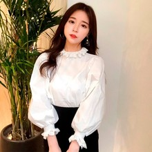 Buy VGH Ruffles Women's Fashion Blouses Ruffled Lantern Sleeve Loose Top Female Shirt Solid Clour Korean Clothes New Tide 2018 for $15.99 in AliExpress store
