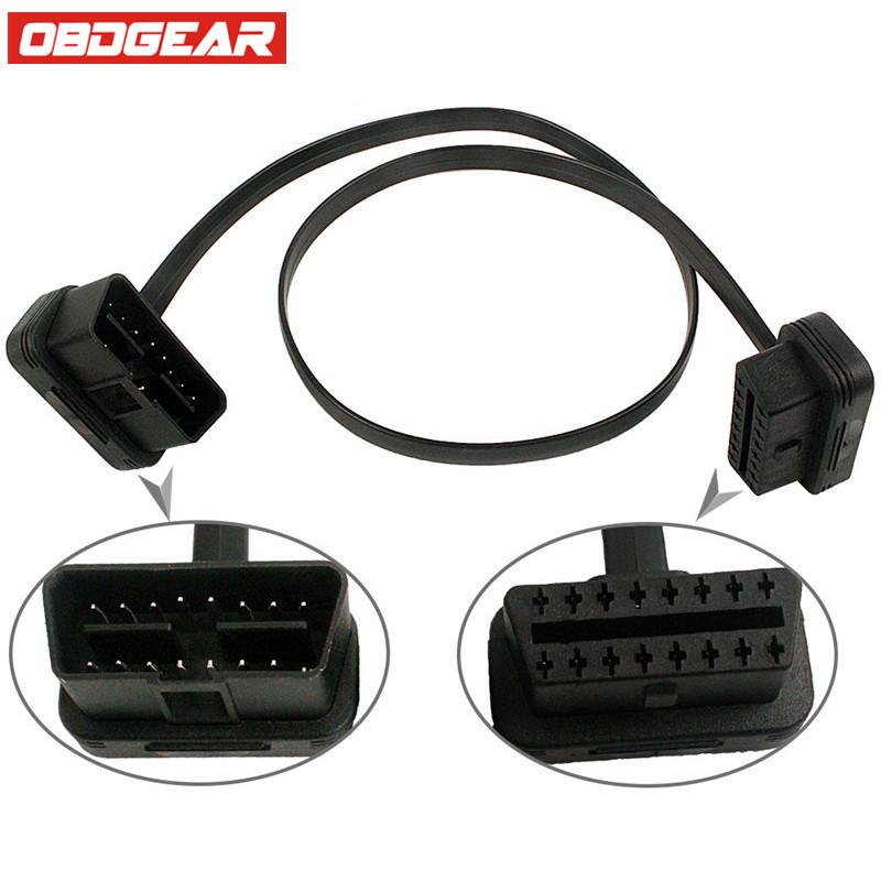 16Pin Female Extension Cable Car Diagnostic Connector OBD II Male Cable Car Cable OBD2 OBDII Adapter Connector With 5pc a lot(China (Mainland))