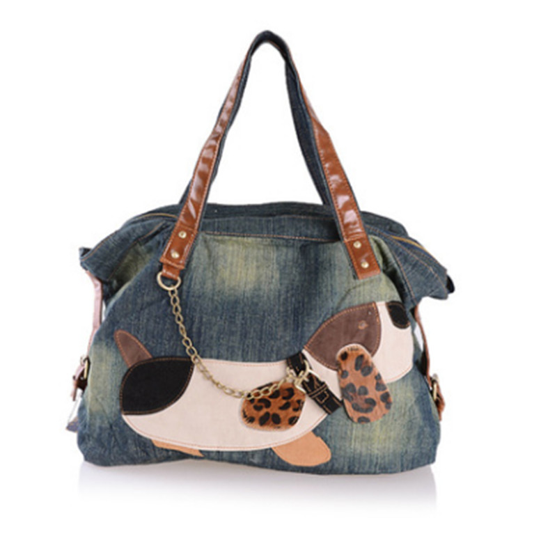 Big Dog Pattern Rivet Cowboy Bag Women Large Capacity Handbags NewWomen Bag Designer Ladies Handbags Big Denim Tote Crossbody <br>
