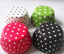 Free Shipping 100pcs 4 color white,black, red, green dot paper wedding Cupcake Liner muffin cup cake baking mold case