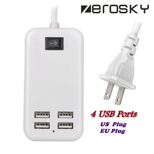 US Plug 4 USB Ports Travel Home Wall Charger Adapter Outlet USB Slots Charging Extension Power Socket With Switcher