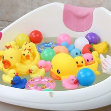 Bathroom Cartoon Bathing Baby Toy Kawaii Water Beach Toy Small Yellow Duck Rubber Small Yellow Duck Animal Cute Funny Sea Animal(China)