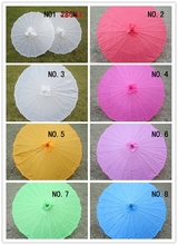 Free shipping Chinese colored fabric umbrella, white pink parasols, China traditional dance color parasol, Japanese silk props(China)
