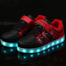 USB Charger tenis led feminino simulation Basket Children shoes with Led  Light Up trainers Kid  Boy&Girl Luminous Sneakers