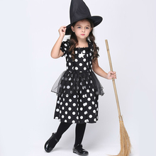 Girls Pure Cotton Dot Black Dress with Hat Halloween Witch Costumes Cosplay Kids Stage Performance Clothing Party Role Play 2017