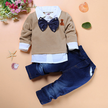 DTZ238 High quality boys handsome clothing 2 pcs / Set. children gentleman tie fake two-piece Pullover + jeans Children set 2017